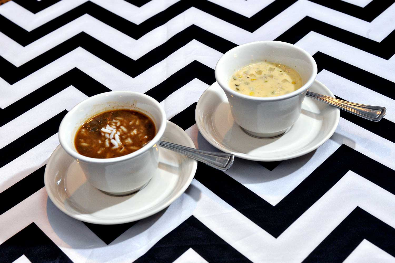 Chicken & Andouille Gumbo / Roasted Corn & Crab Bisque
