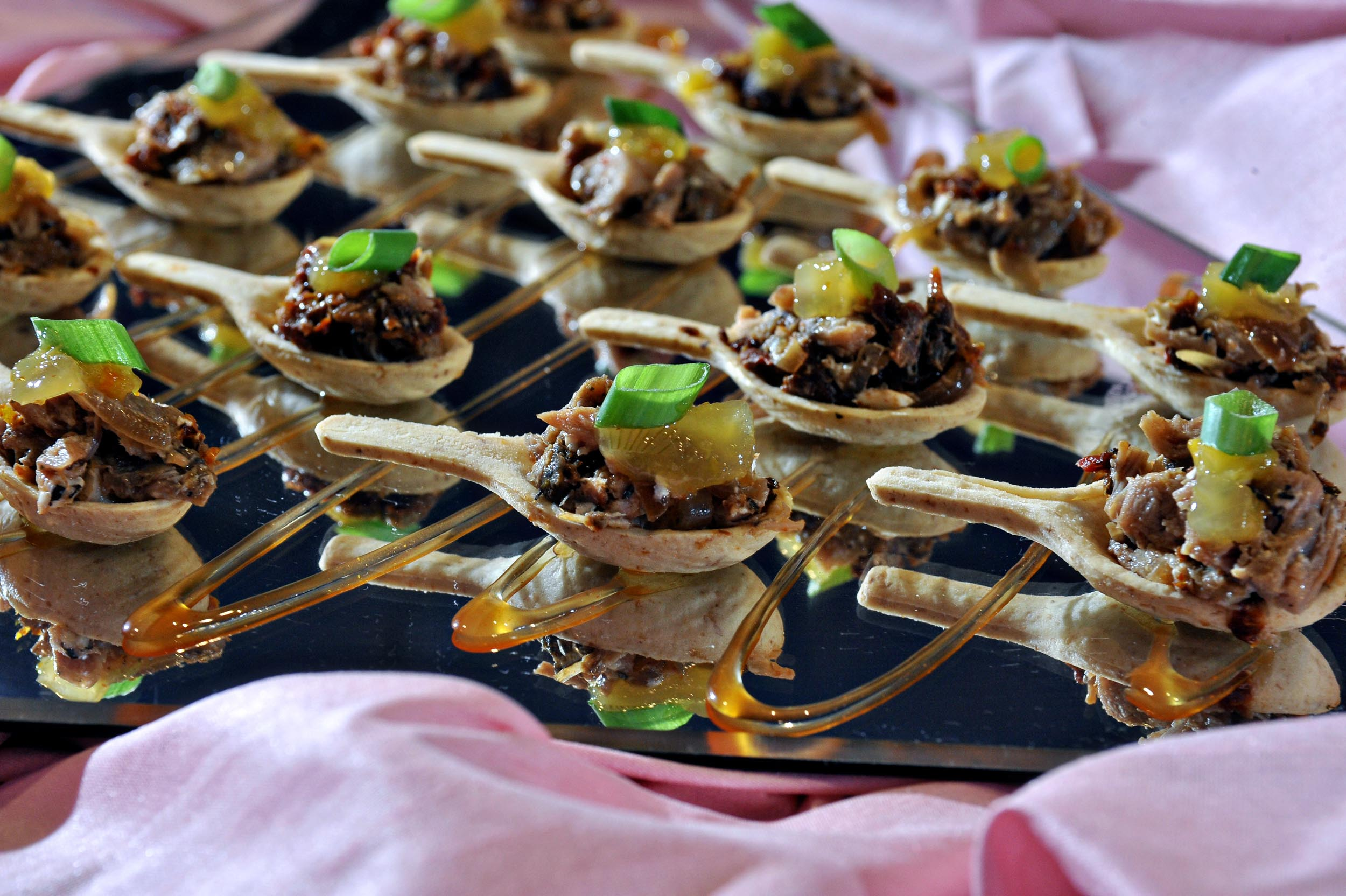 Duck Confit in Edible Spoons