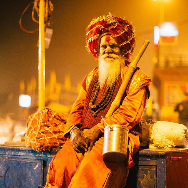 Varanasi is full of real-deal holy men as well as spiritual peddlers. Here, a Ghat rests after a long night of spiritual guidance. This shot was taken around 2am. Varanasi is completely different city at this hour. #varanasi #50mm14
