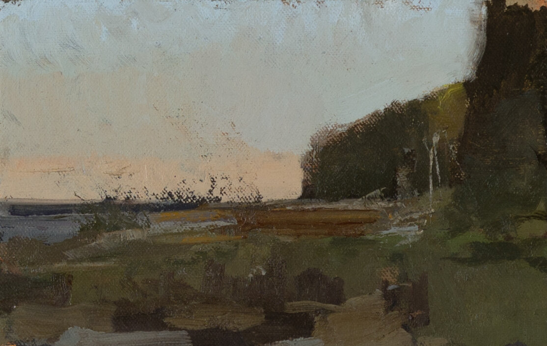 a painting of a landscape: the sky is muted, as if the sun is set; in the foreground and to the right, stretches of land — grass, bushes, trees.