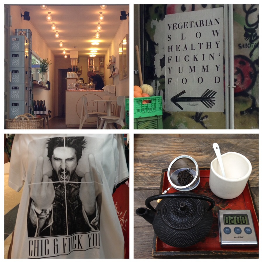 Top left clockwise; cafe in a shipping container, sign to aforementioned cafe, tea at Suicide Sue comes with a timer for that perfect cuppa and T-shirts that I cannot imagine myself wearing anytime soon.