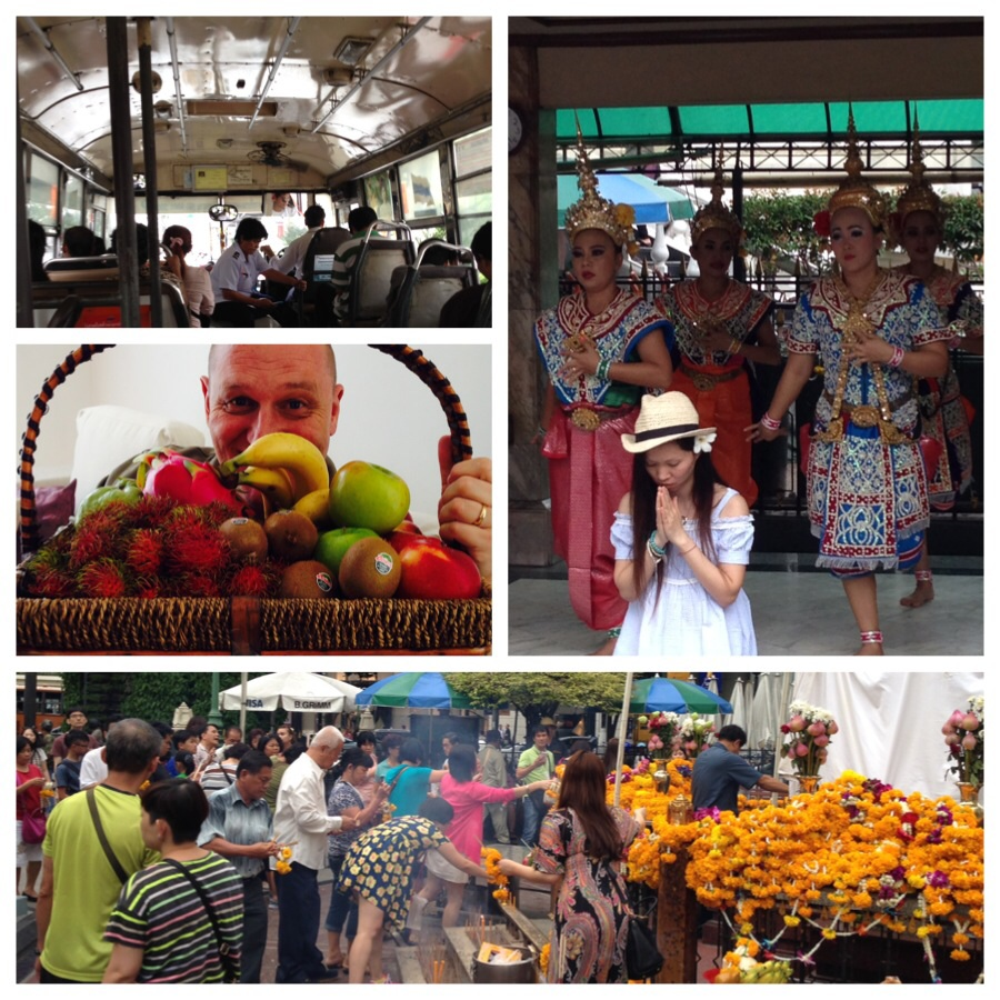 Top left and clockwise: non-air conditioned bus to Chinatown, pay extra to have dancers chant behind you when you pray, the famous Buddhist shrine at Erawan and Christoph with luscious fruit that can be found everywhere! Heaven!