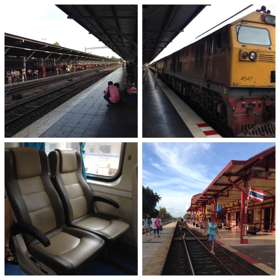 Clockwise from top left: platform at the Hua Lamphong Railway Station, the locomotives, OM walking the tracks at the Hua Hin Station and what 412 Baht buys you.