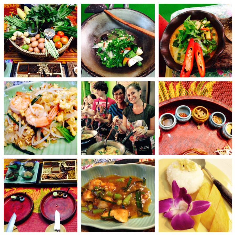 Clockwise from top left: typical Thai market supplies, making soup in a wok, my tom yum goong, pad thai key flavourings, the national Thai dessert- sticky rice with mango, penang curry, our work stations, pad thai.  Centre: OM and I making green curry gai.