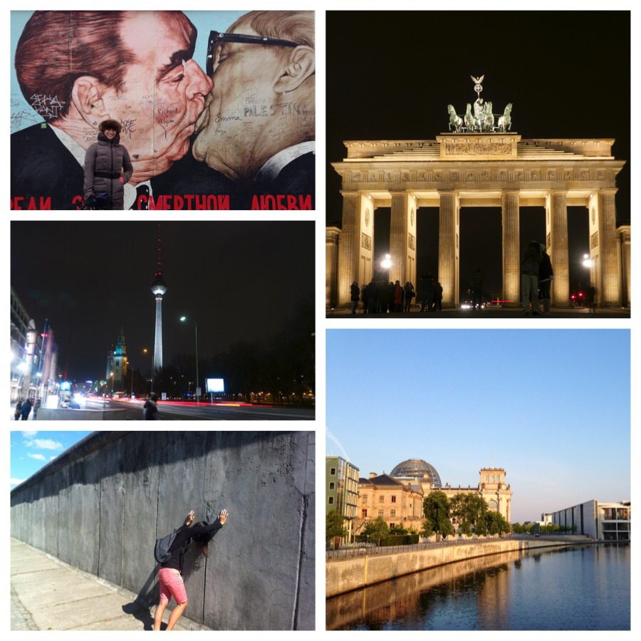 Top clockwise: OM at the East Side Gallery, Brandenburg Tor, Reichstag, Linh at Bernauerstrasse and the Fernsehturm at Alexanderplatz.