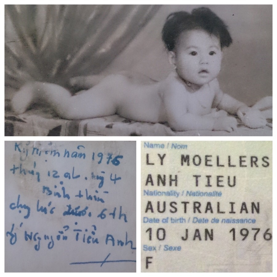 Top and left: Me as a baby and the incscription on the back. Right: My officially registered  birth date.
