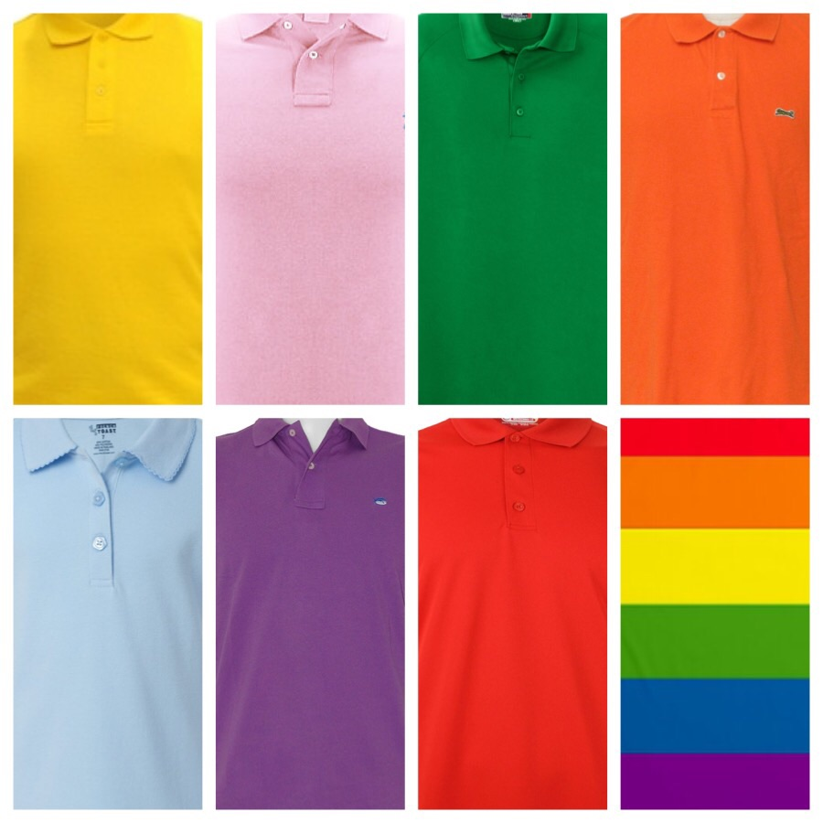 Monday- yellow, Tuesday- pink, Wedensday- green, Thursday- orange, Friday- light blue, Saturday- purple, Sunday- red