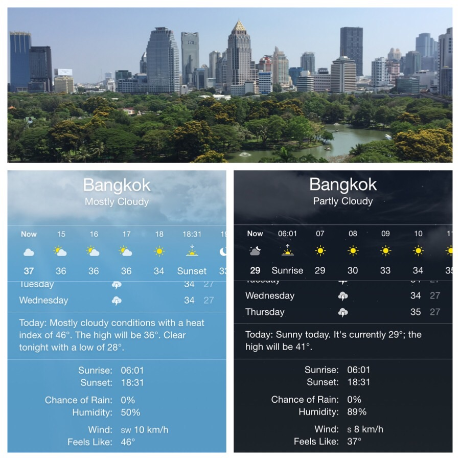 Top: view over Lumpini Park Left: Monday 14:30h Right: Tuesday 06:00h