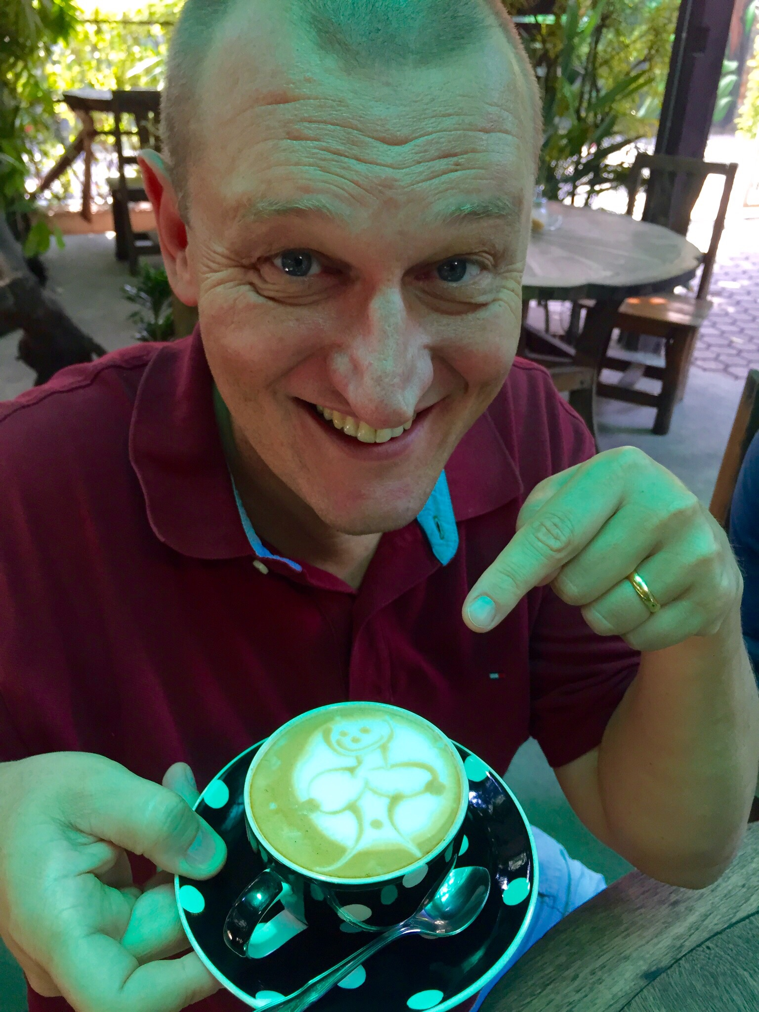 Christoph is going to miss his personalized Thai-style coffees. He calls this one a 'Tittie-Latte'.