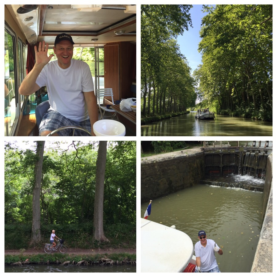 Top left and clockwise: Christoph at the wheel, our boat, Christoph handling the ropes at one of the many locks we have to tackle, me testing out our bicycles.