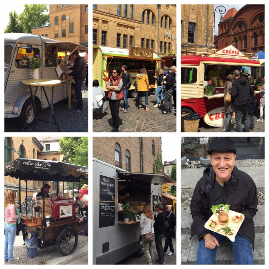 Top left and clockwise: cake van, empanada van, crepe van, Christoph with our last lunch course from the grill van, sausage van, coffee bike :-)