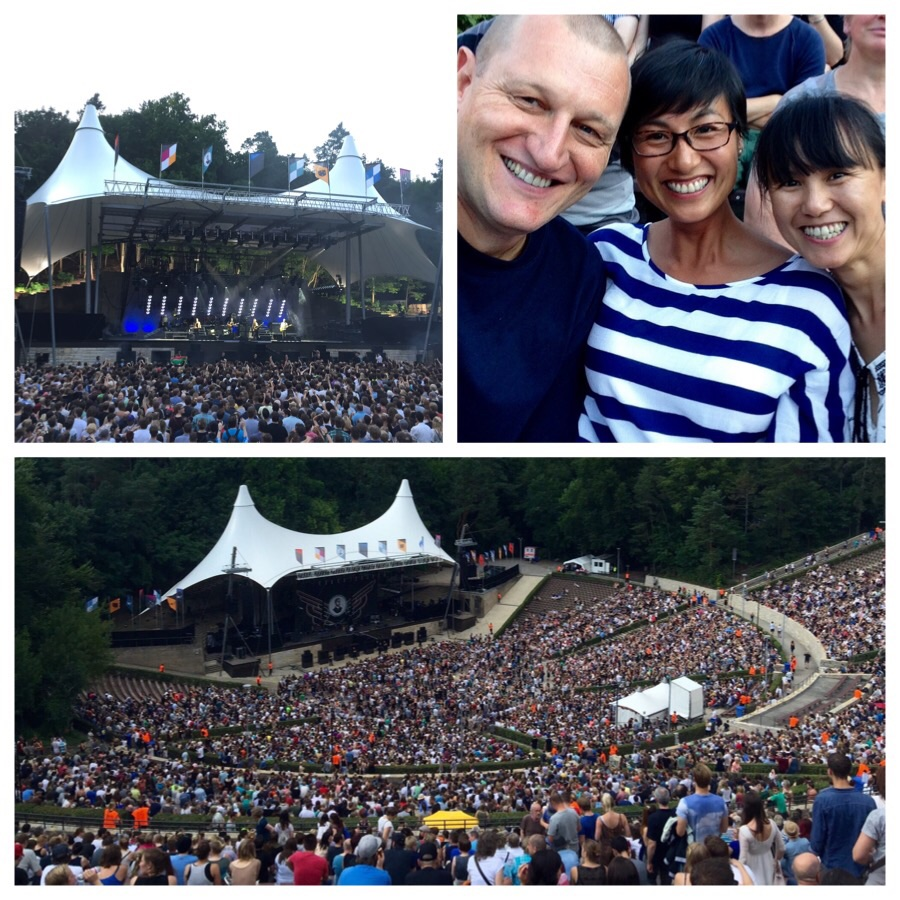 Top left and clockwise: Mumford & Sons were terrific, some of the fans, the venue (Waldbühne) filling up.