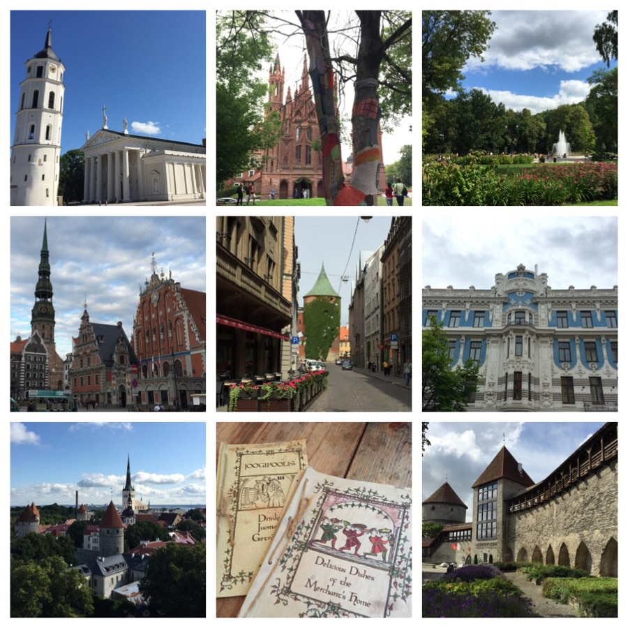 Top, left to right: Vilnius; Cathedral Square, St. Anne's Cathedral, Bernadina Gardens. Middle, left to right: Riga; St. Peter's Chuurch and House of the Blackheads, the Powder Tower, Art Nouveau buildings. Bottom, left to right: Tallinn; View of the Old Town, celebrating the city's medieval past, the Danish King's Garden.