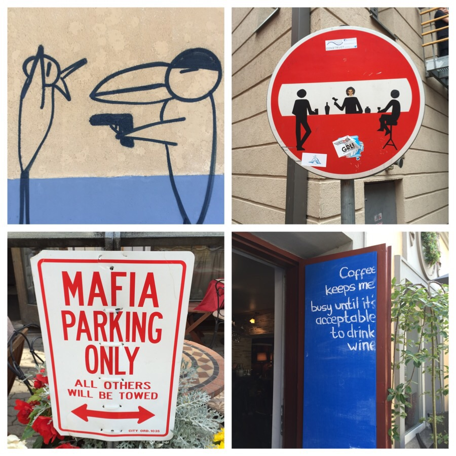 Clockwise from top: this was titled 'Dangerous Toucan' by the artist, a very well- redesigned No Entry sign, how many people would deny that?, this was in Estonia where the Mafia seem really official.