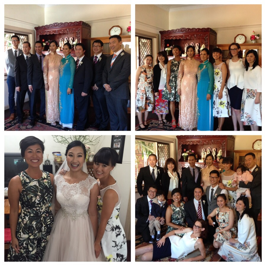 Top left and clockwise, photos from after the tea ceremony: bride and groom with mum and the Ly boys, mum with the Ly girls, the Ly siblings and partners and Linh, Alison and I after she just changed into her gown.