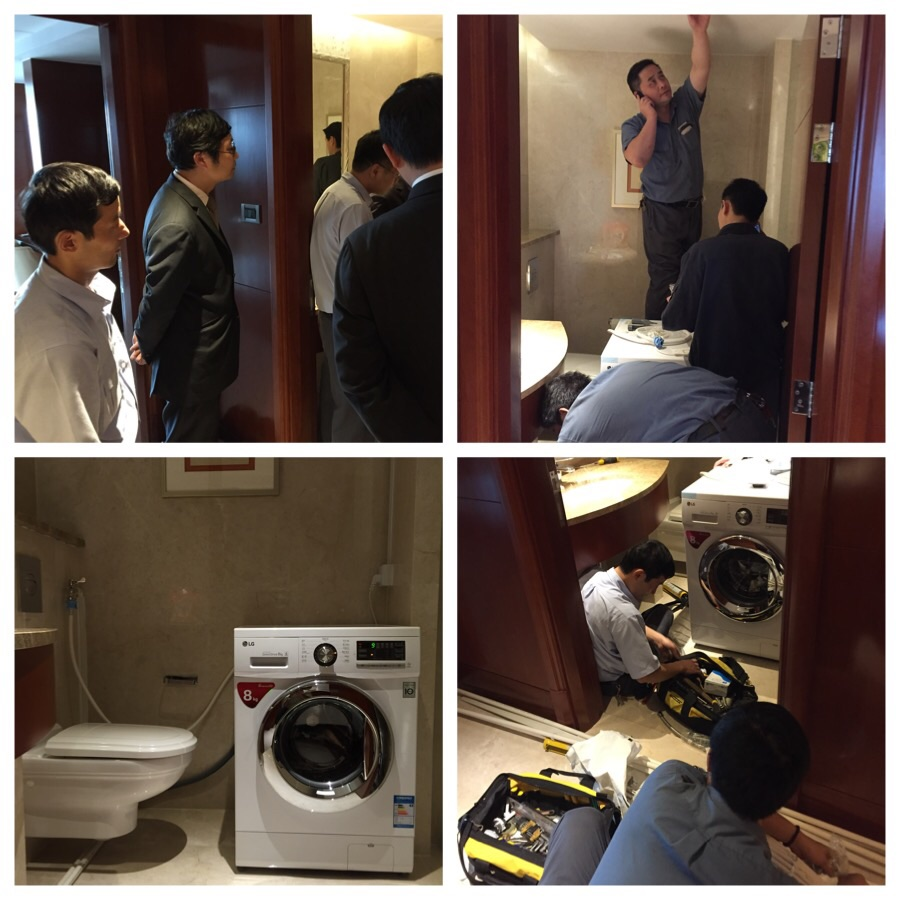 Top left and clockwise: 6 people witnessing the delivery of the washing machine, electricians at work, plumbers at work and finally, a functioning machine with creative installation.
