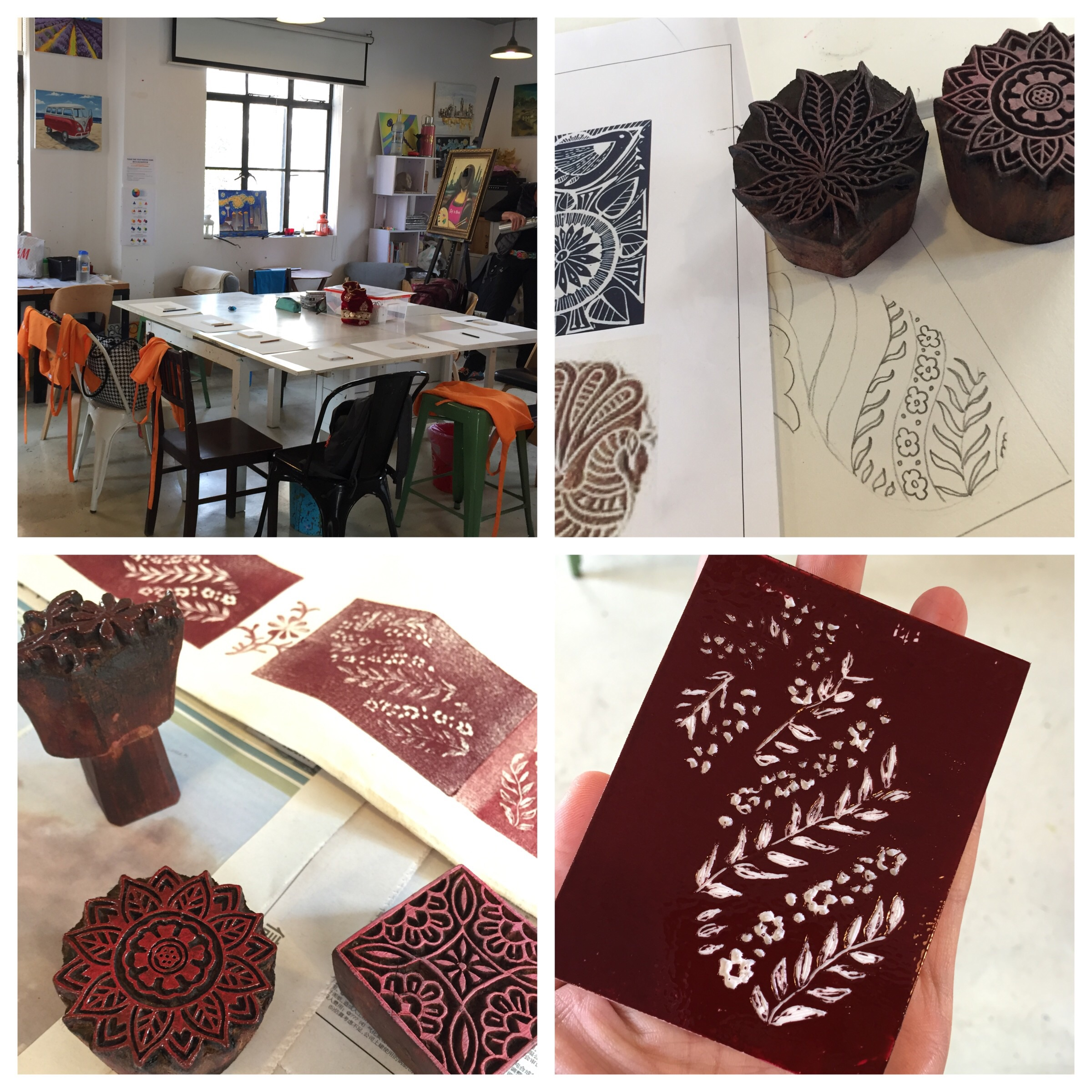 Top left and clockwise: our classroom, my drawing of my block design, my carved block and finally we printed on a cushion cover also using professionally crafted blocks from India.