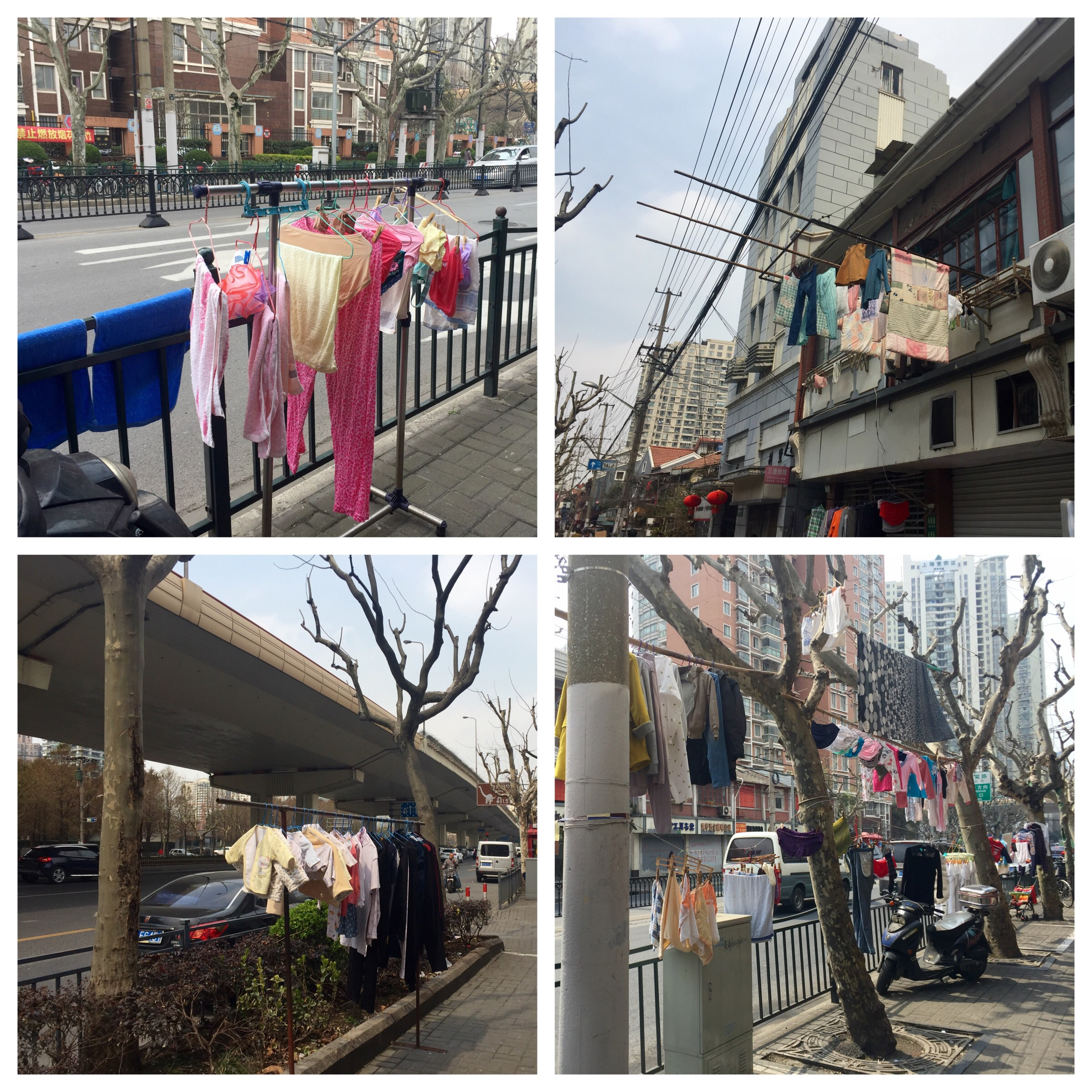 Street laundry in downtown.