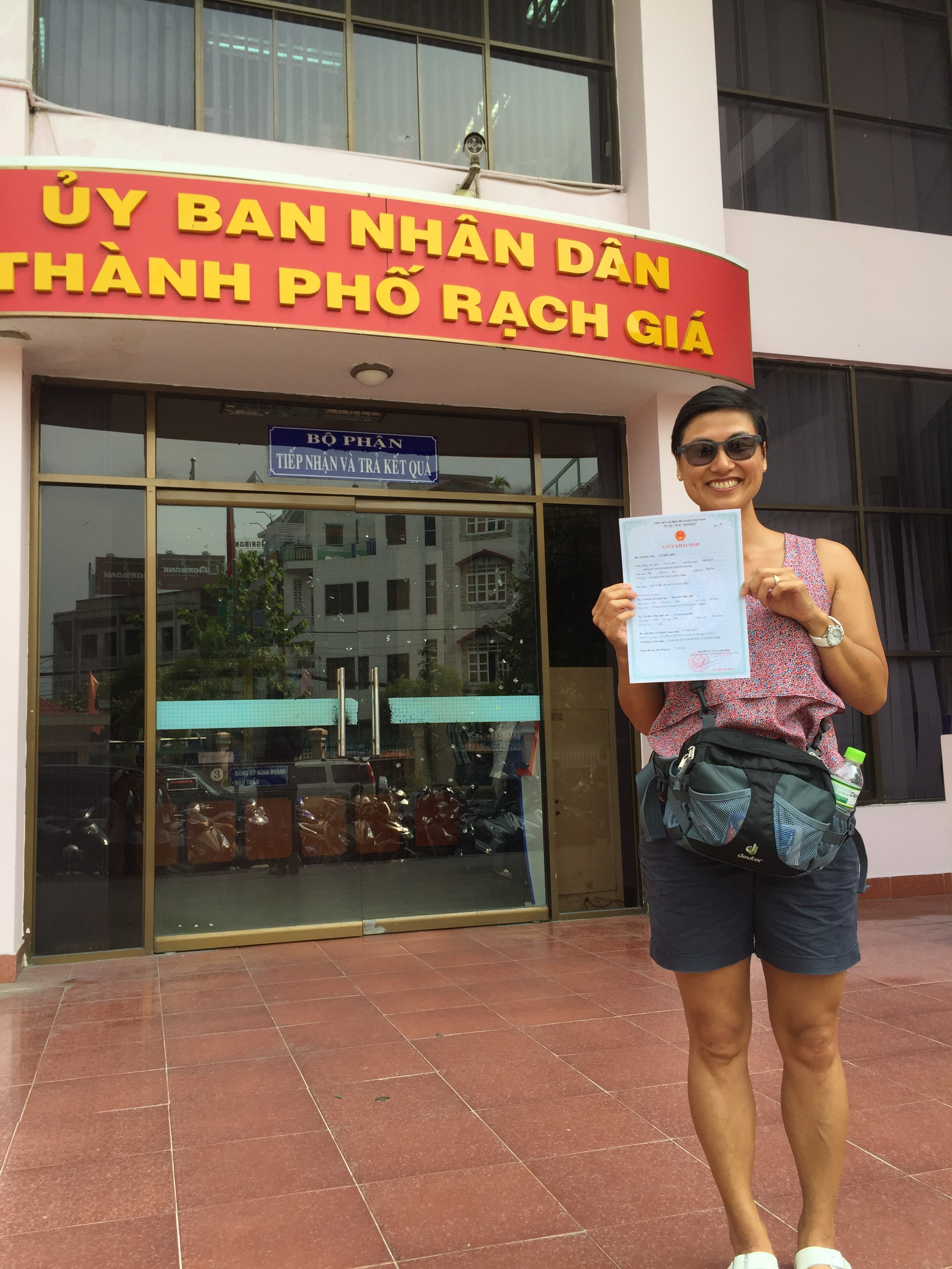Me with my very official Vietnamese birth certificate :-)