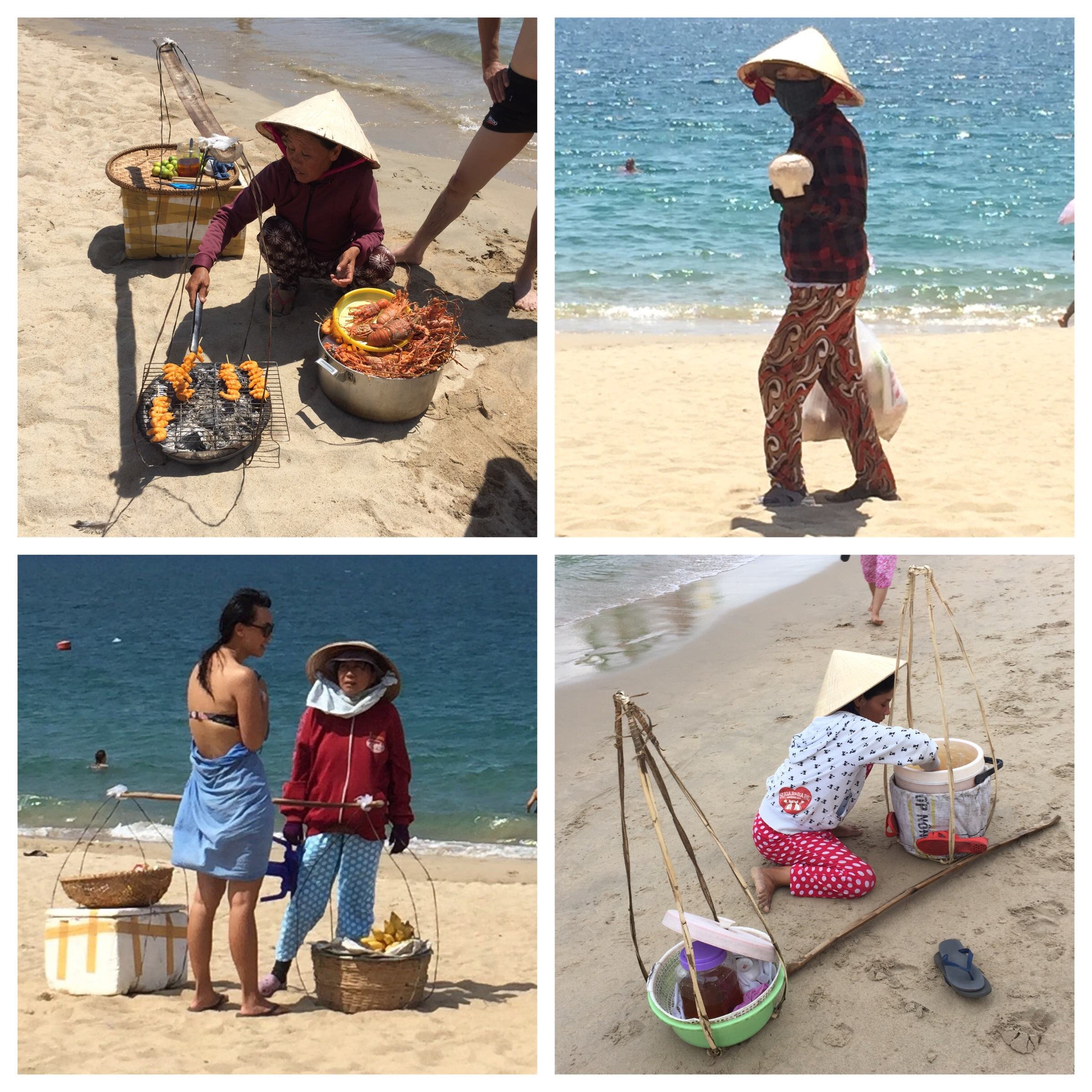 Various beach vendors at Nha Trang. Top left and clockwise: grilled lobsters and prawns, fresh coconuts, tofu in ginger syrup, Linh chatting with the mango and banana vendor.