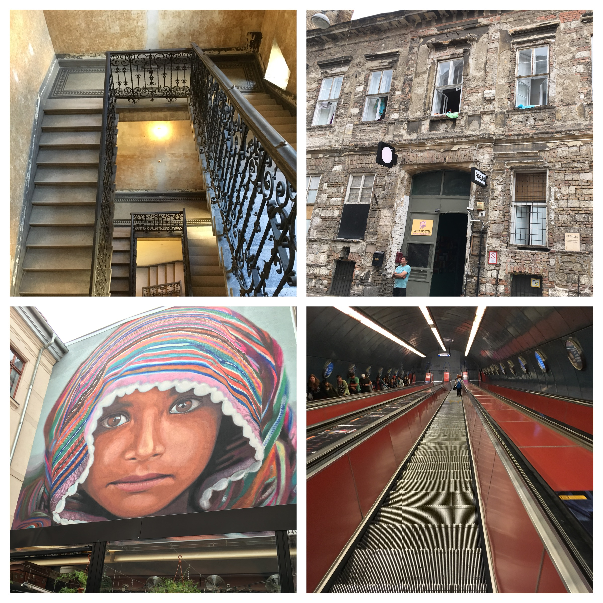 Clockwise from top left: the stairwell to my friends' apartment, the facade of a trendy city hostel, the extremely steep escalators in the subway, wall art at the Passage.