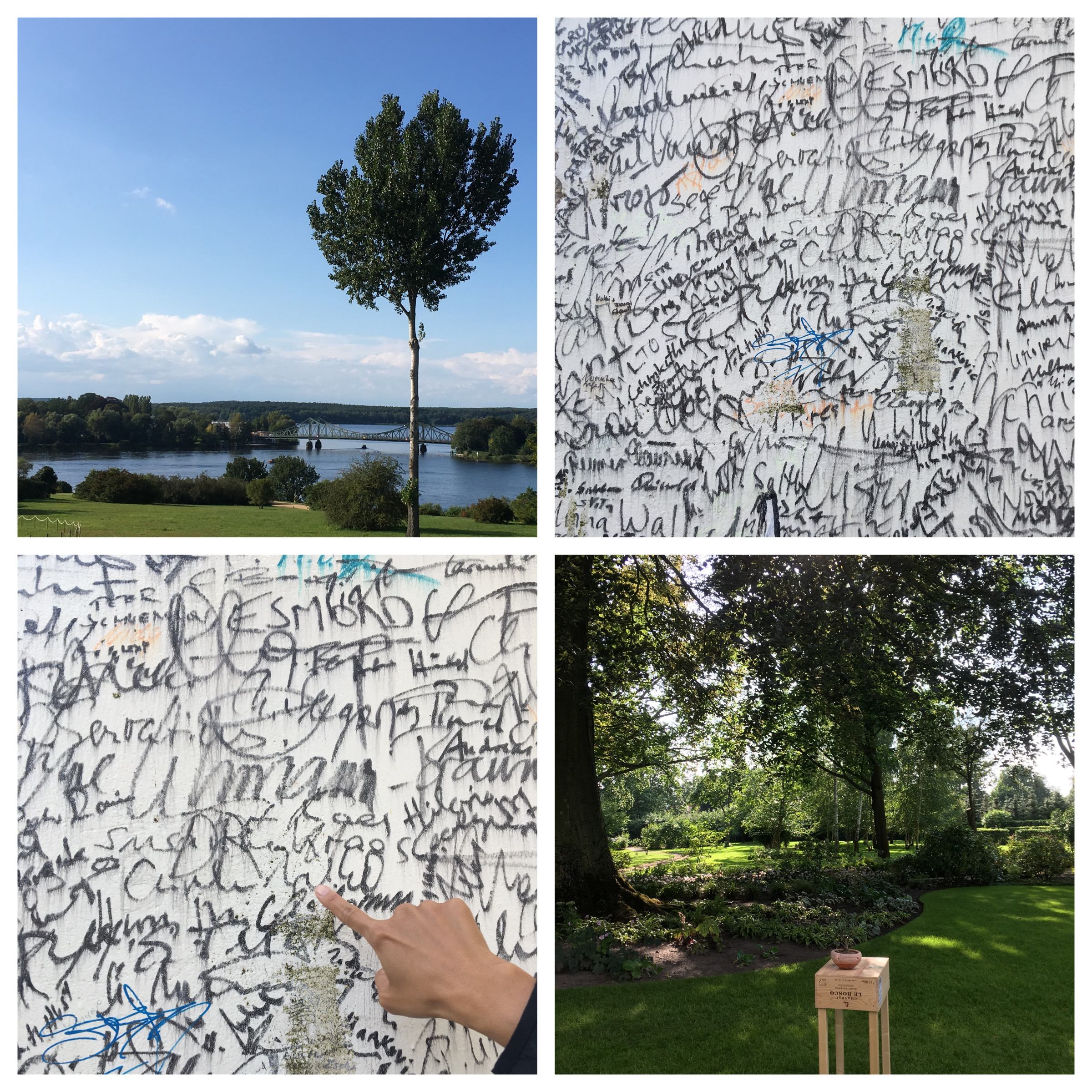Top left and clockwise: The Glienicke Bridge in the distance, part of the Wall that ran past the villa - can you spot Merkel's signature?, the villa's garden, there's Angela!