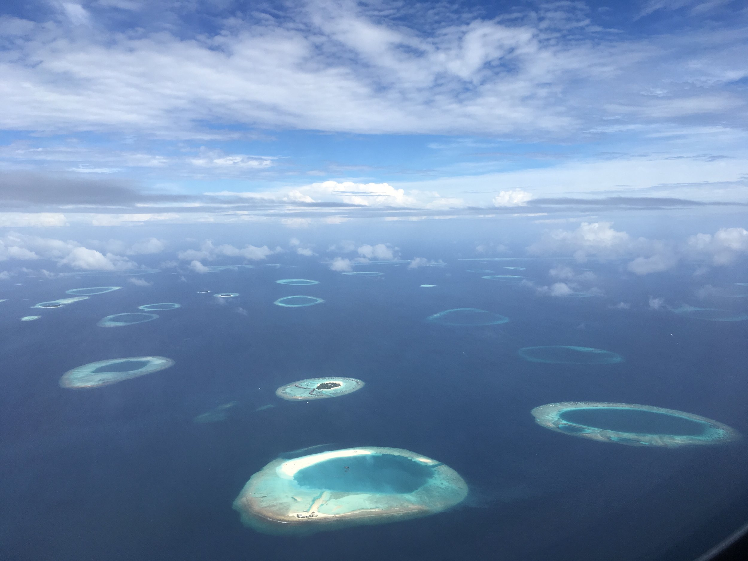 View over some of the islands from the plane.