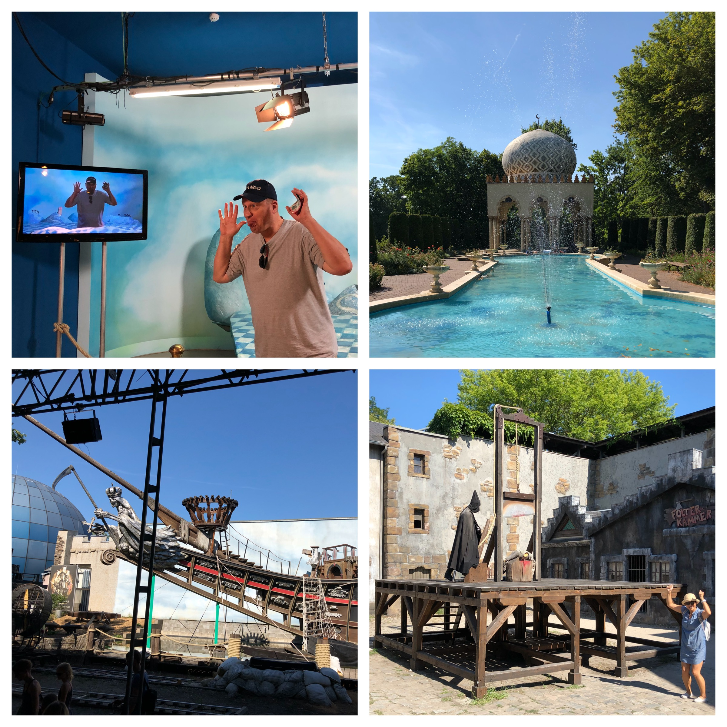 Top and clockwise: Christoph learning about film sets, the garden from a TV story, a typical scene from the Middle Ages, the set for the Three Musketeers show.