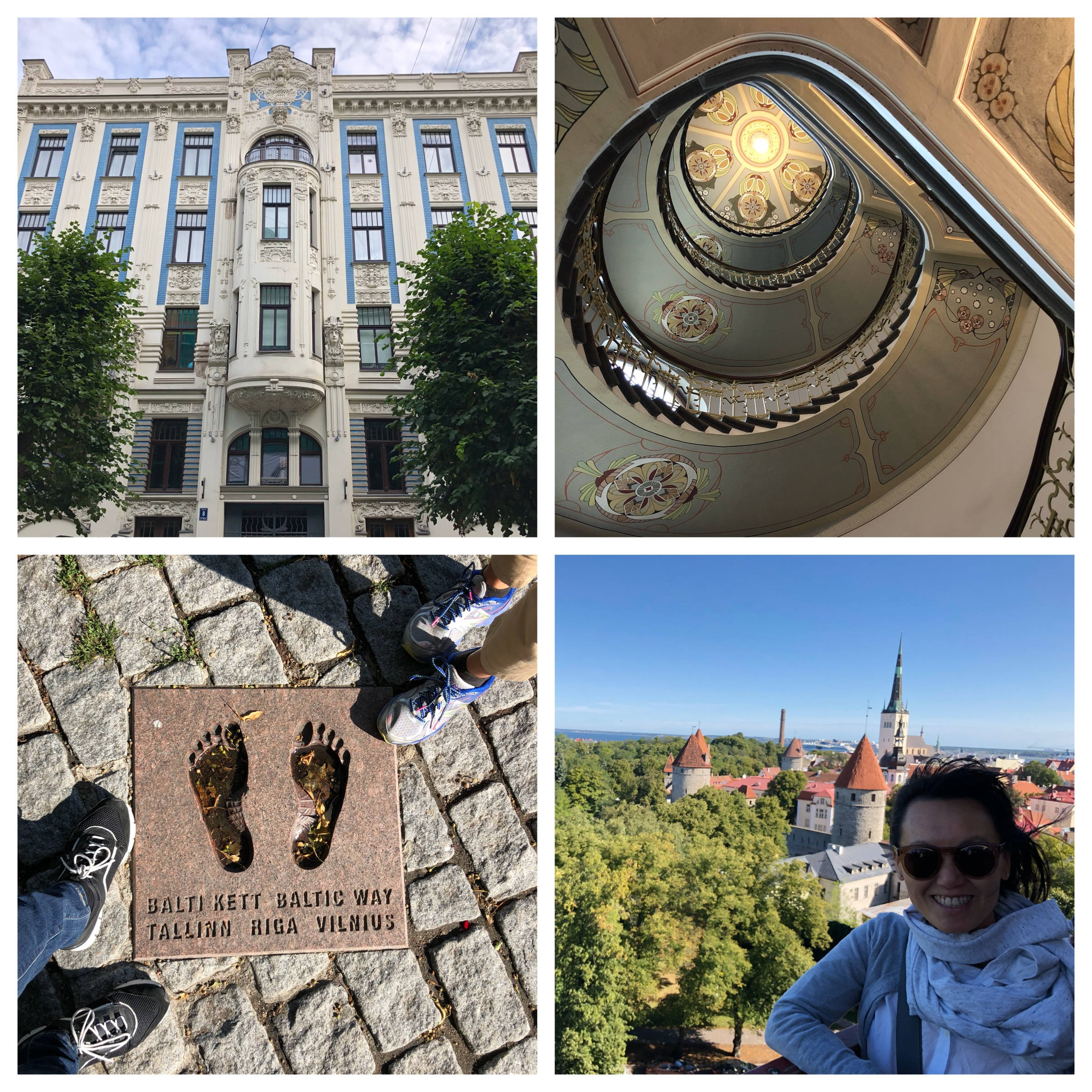 Top left and clockwise: Art Nouveau District, Riga, the interiors of the beautiful buildings, Linh at the Tallinn Old Town, the end of the Baltic Way, Tallinn.
