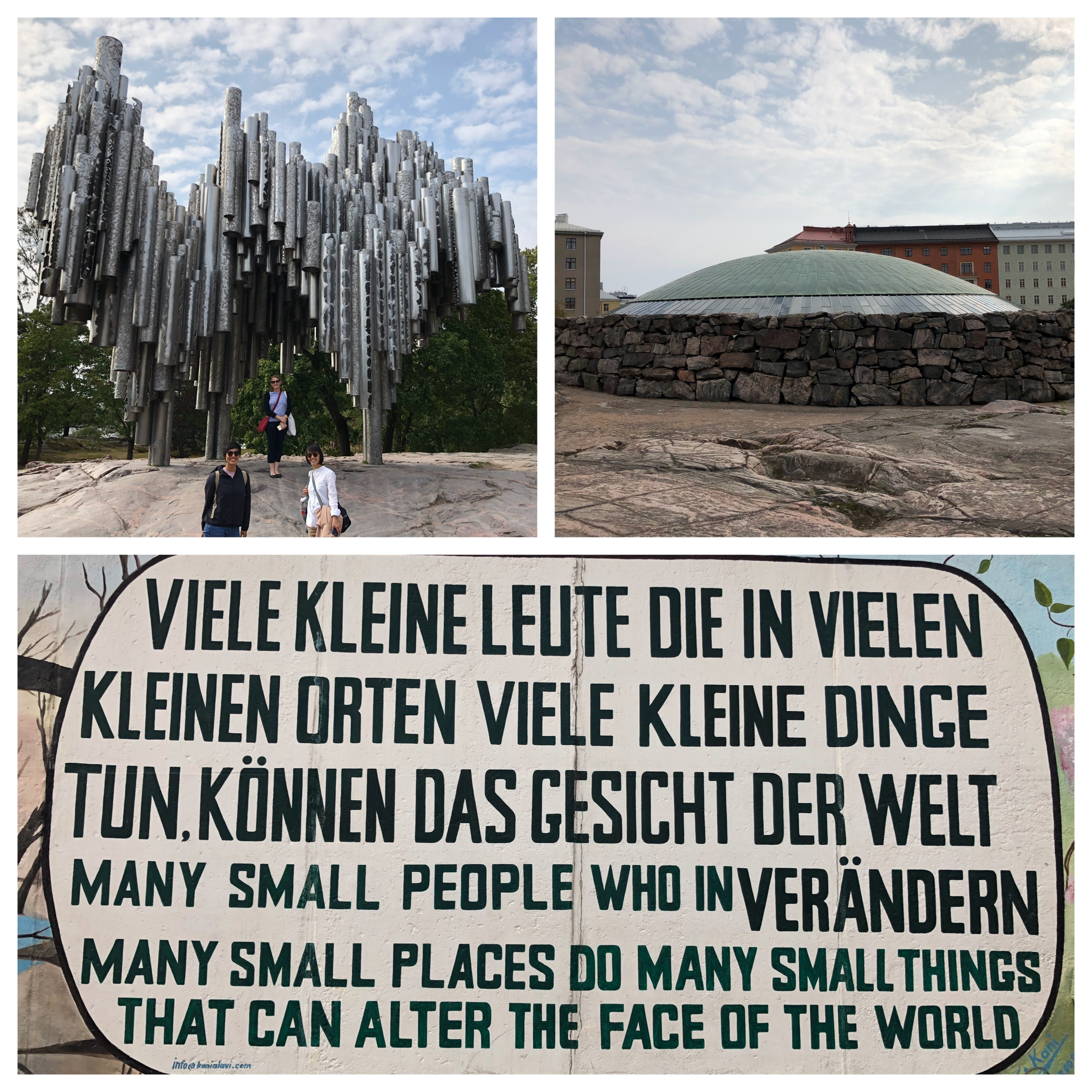 Top left and clockwise: at the Sibelius Monument, Helsinki, the amazing Temppeliaukio Church and finally back to Berlin's East-Side Gallery.