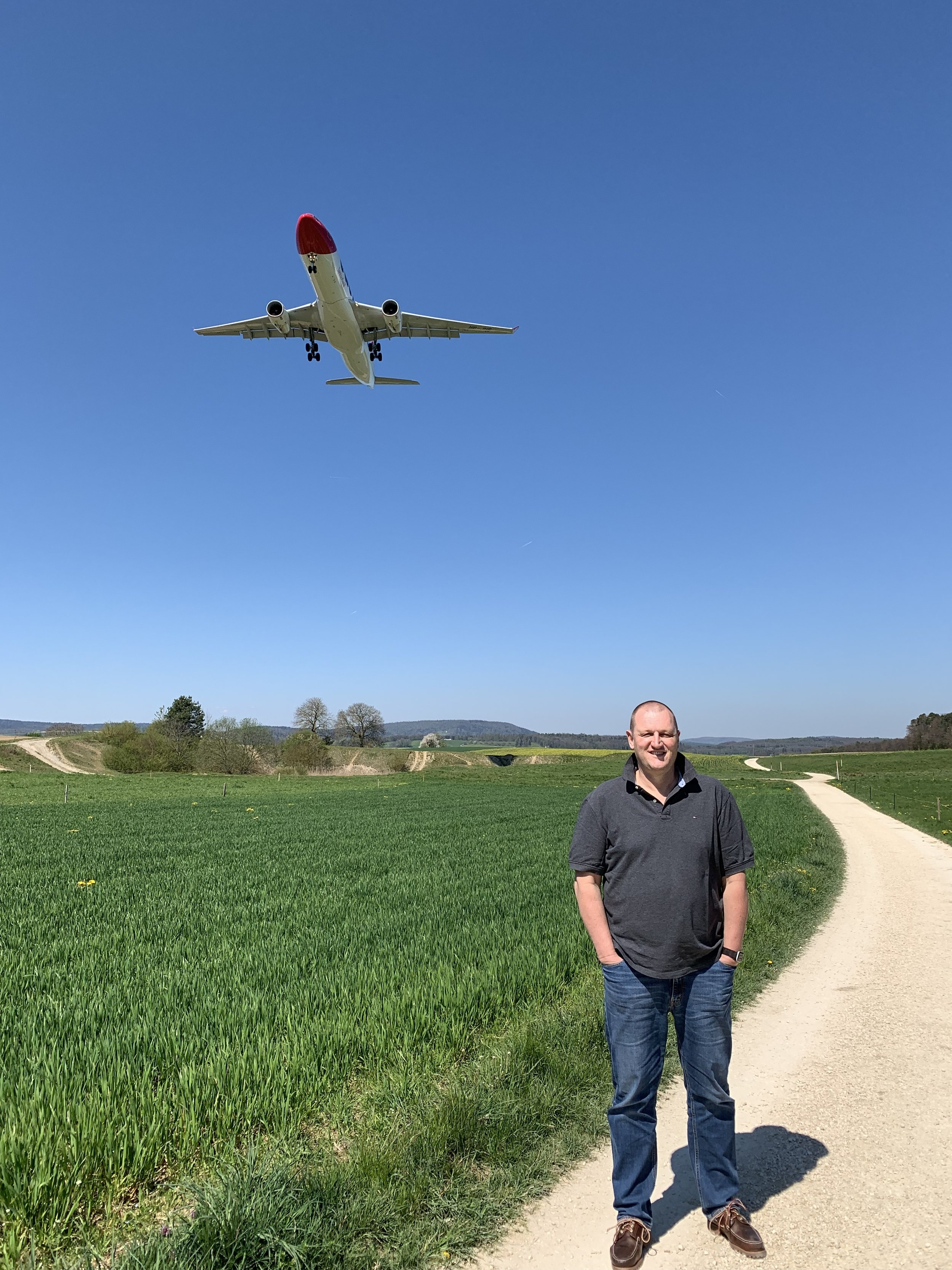 Christoph at one of his favourite walking paths near the Zurich airport; a popular plane-spotting location.