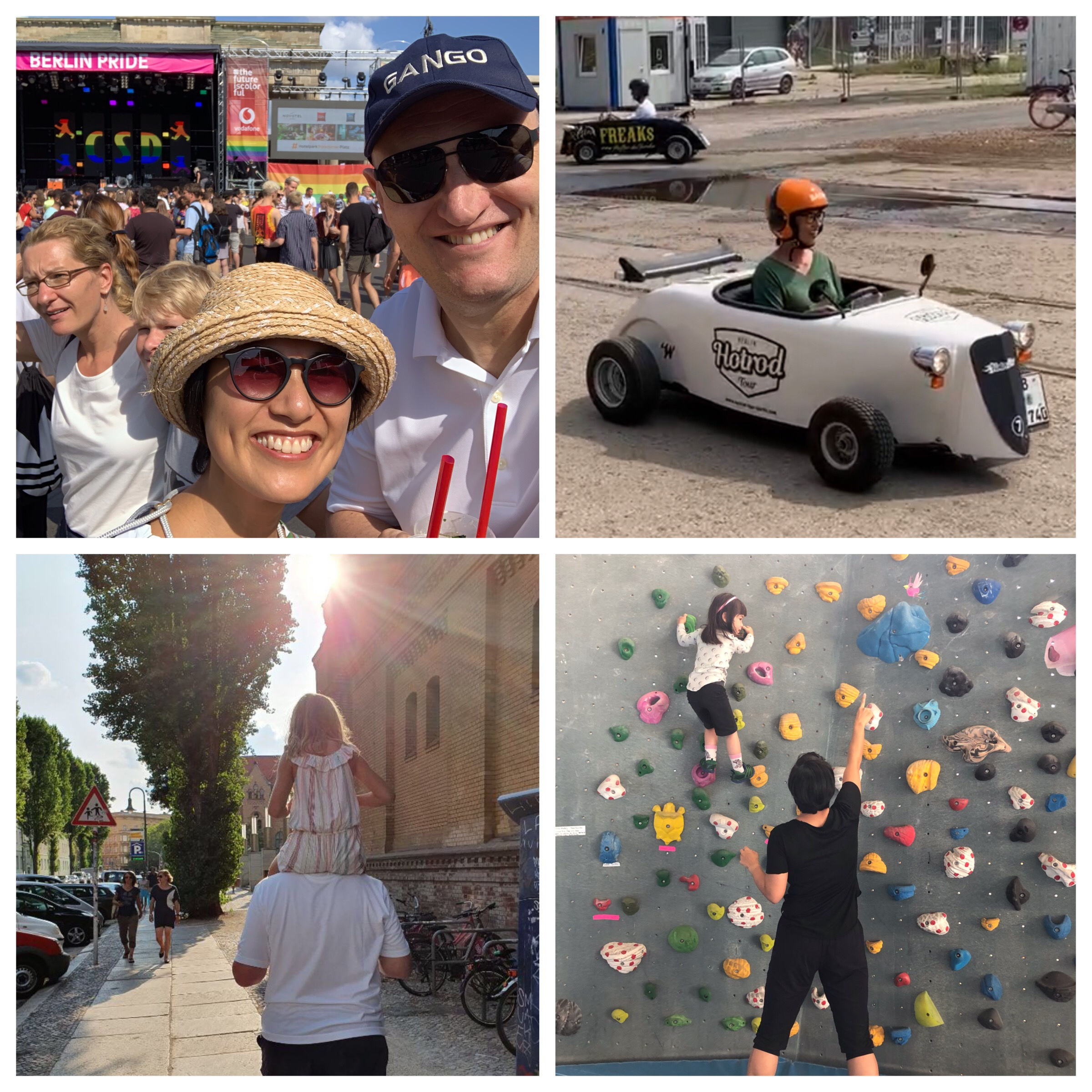 Top left and clockwise; Christoph and I joined the party on Christopher Street Day, I finally got to hoon around the city with friends in my little Hot Rod, sharing the fun of bouldering with little AG and Christoph giving AH a lift when she was visiting us with her dad, CH.