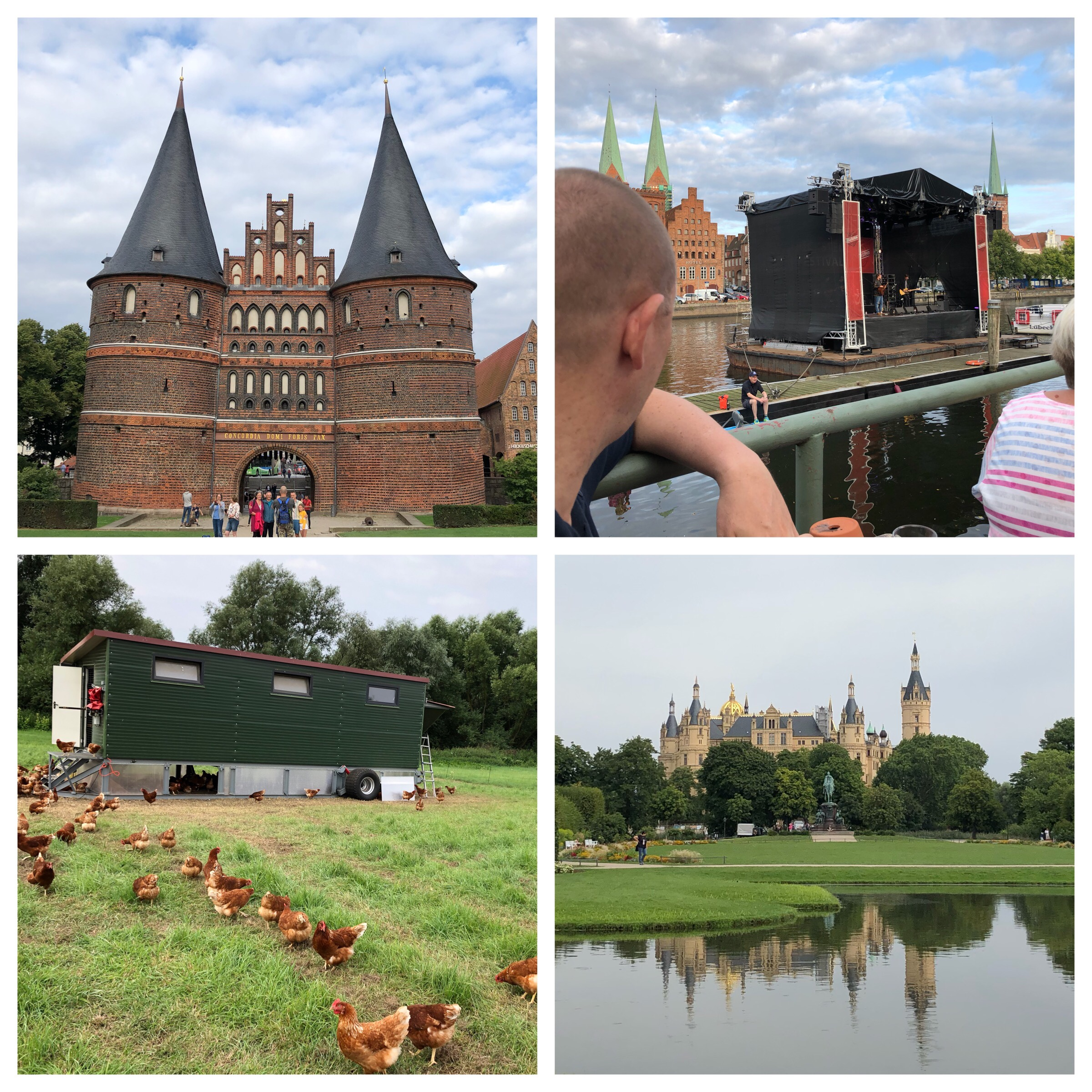 Top left and clockwise: Lübeck's Holstentor Gate (built 1478), Christoph enjoying the music, Schwerin Palace and getting eggs from the source!