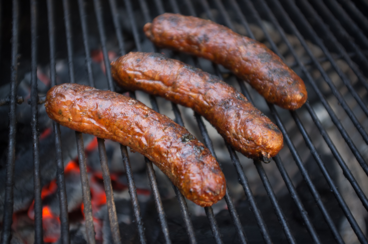 Gordy's sausages on the Weber.