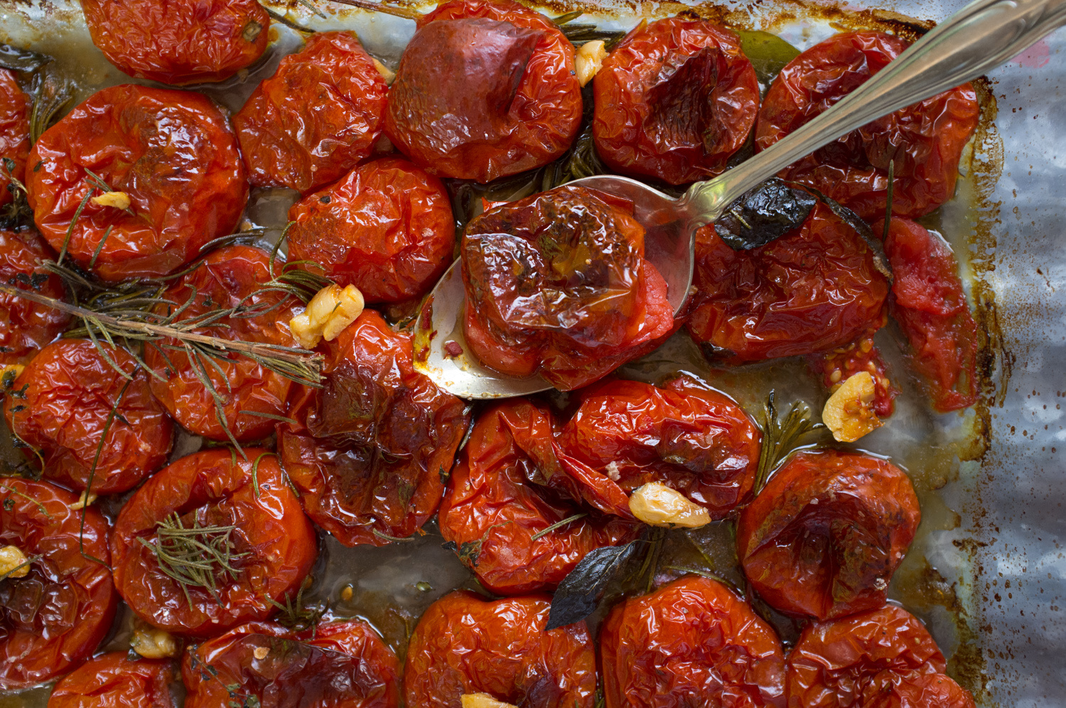 Cut the tomatoes, place in a glass rimmed baking sheet, drizzle with olive oil, add fresh herbs, and roast for hours .