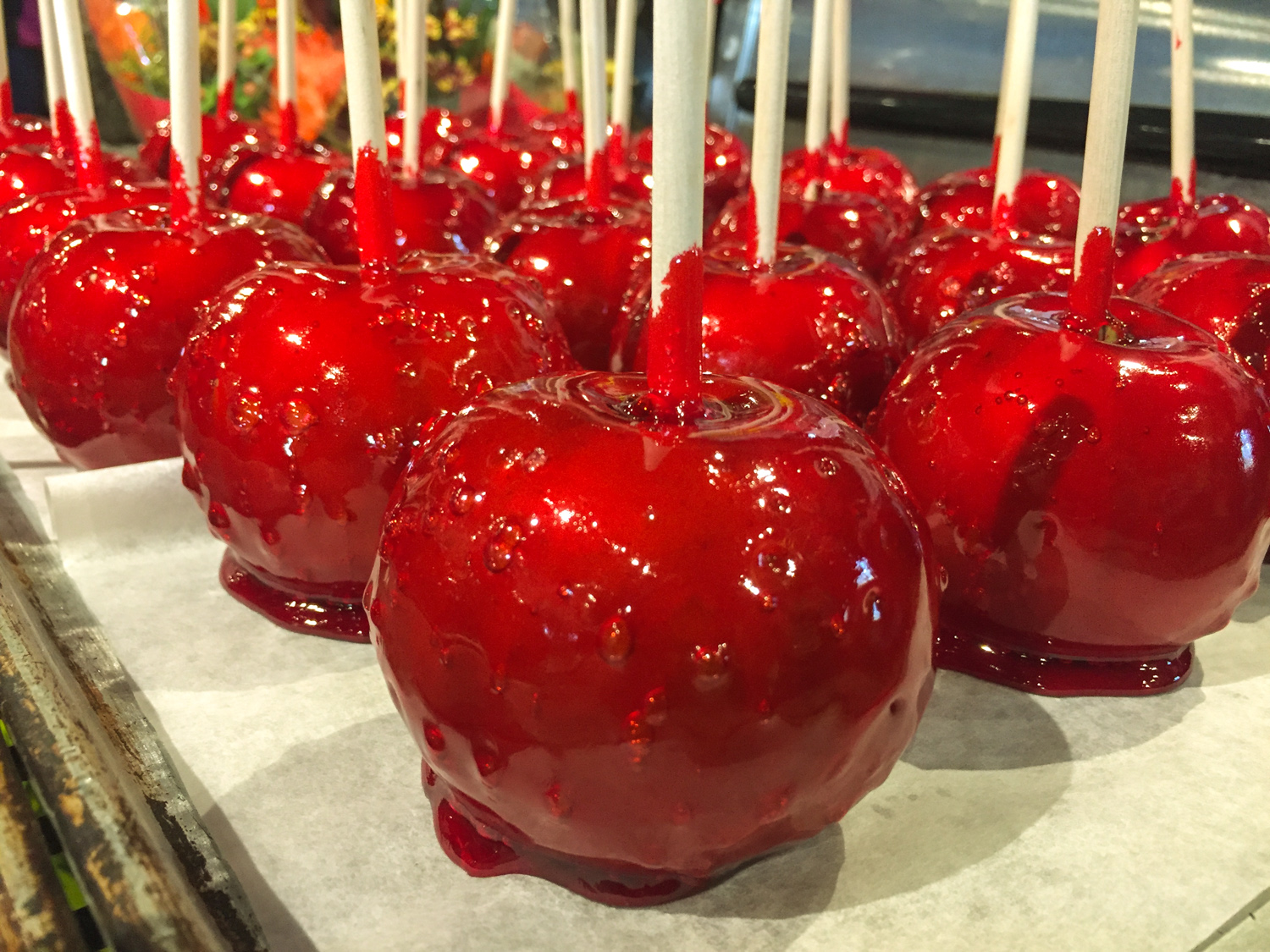 I saw these freshly made candy apples just waiting to be wrapped at  Country Produce  in Orillia.  This is the time of year to go apple picking and Ontario apples are just ripe for picking and eating.  For a list of where to find local visit  Harvest Ontario , Ontario's largest directory of agritourism attractions.    Support local and buy Ontario apples and let's celebrate the season!
