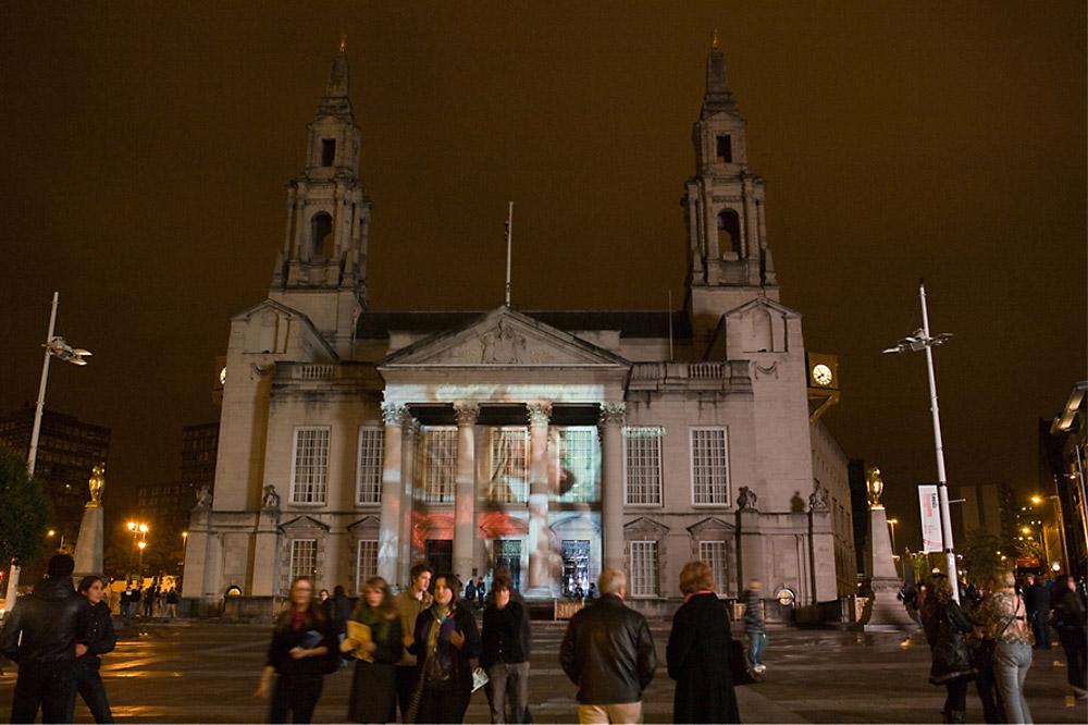 Projection across Civic Hall, Millennium Square, Leeds