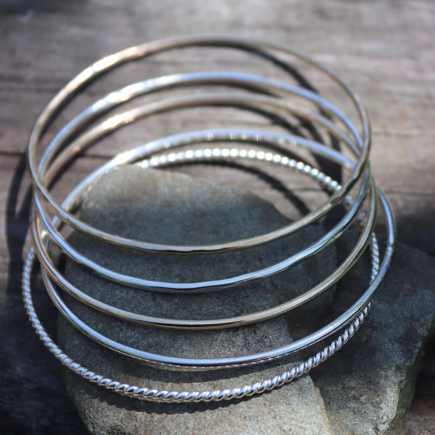 Sterling Silver Twisted /& Hammered Bangle