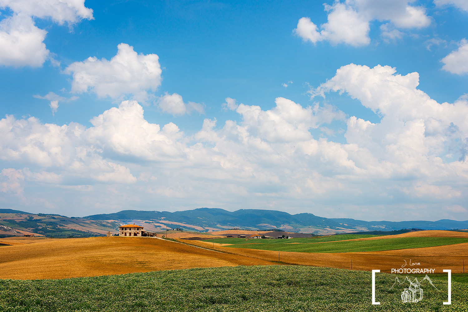 A wide angle view of a Tuscan village in Italy