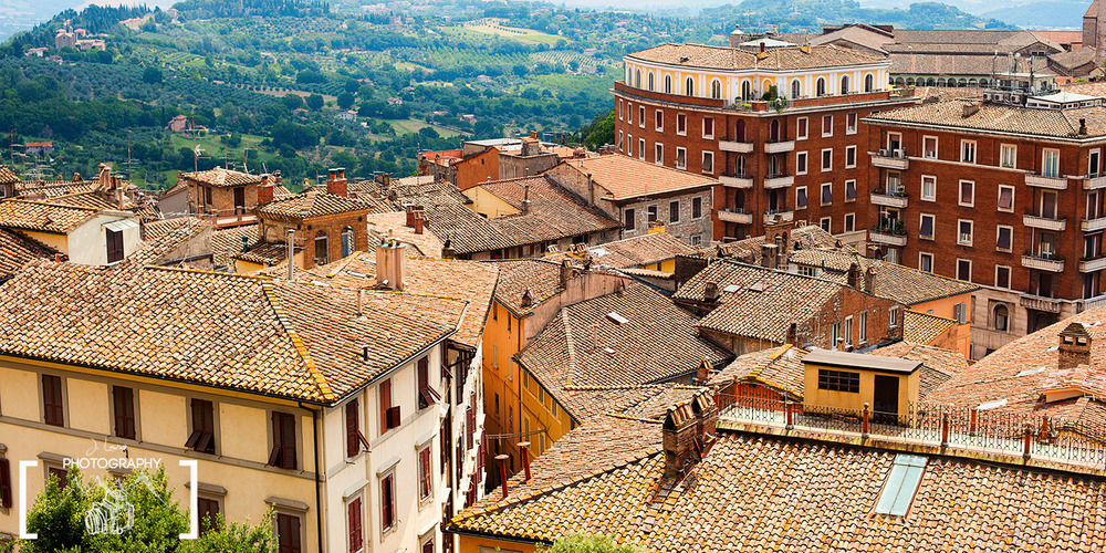 Overlooking the rooftops of Perugia, Italy