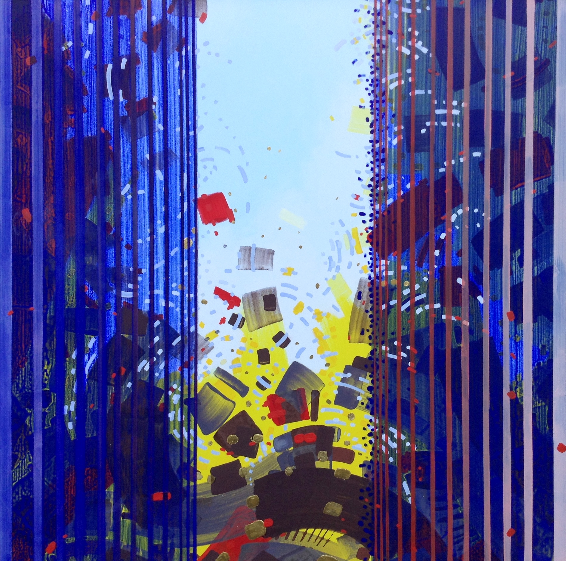 Jurgen Tarrasch,Between, mixed media-pigments, 23K gold leaf on canvas, 40x40 inches, 2014-2015.JPG