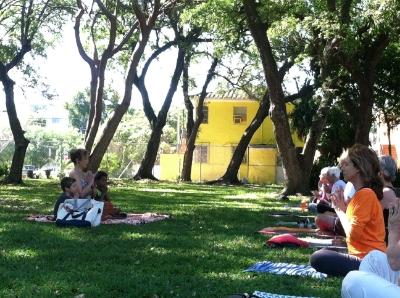weekly yoga at local park