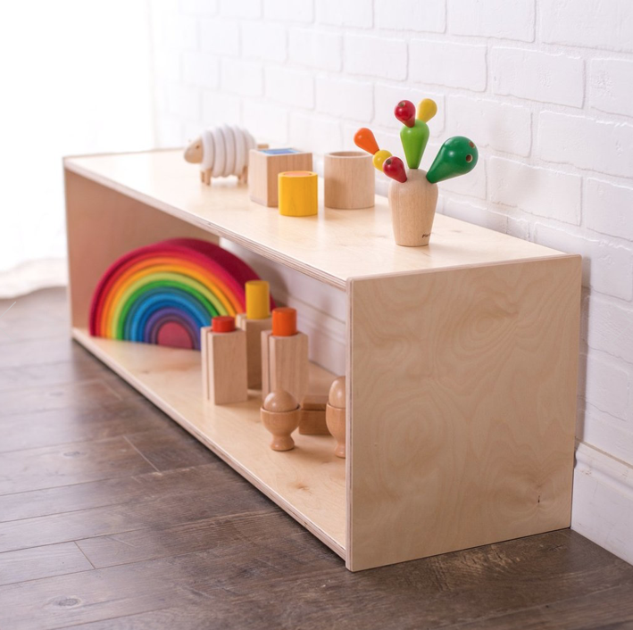 Infant Play Shelf - Sturdy furniture for your infant to stand and pull up on while he explores.