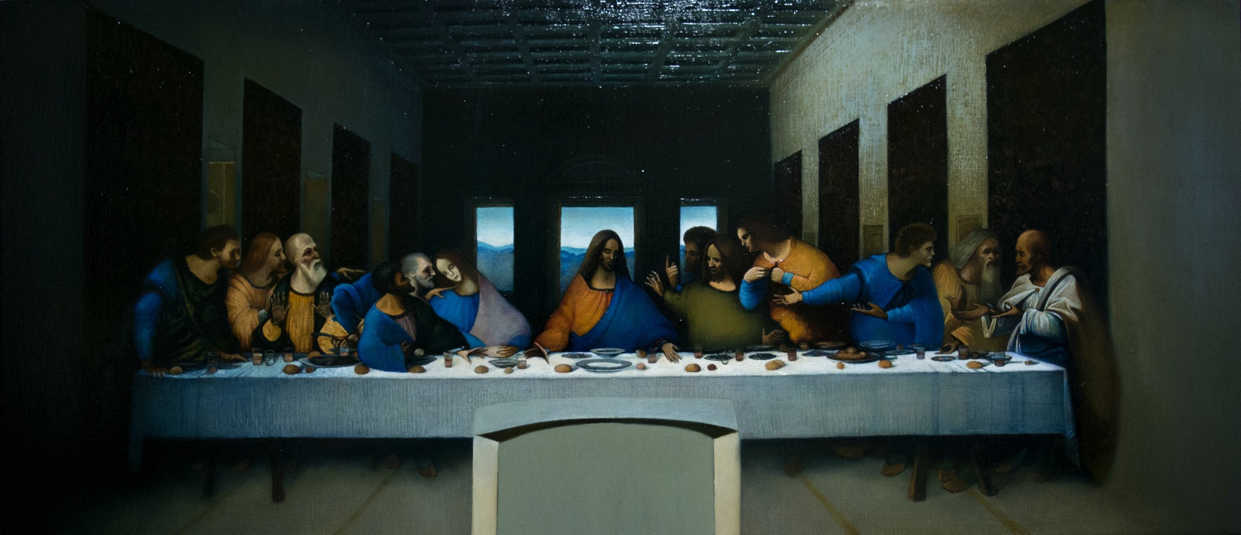 The Last Supper - Leonardo da Vinci by Ghenadie Sontu oil on canvas, 120 x 60 cm, 2016 Private Collection