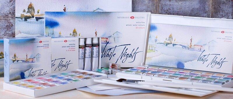 Aкварельные краски «Белые ночи» - Художественные акварельные краски «Белые ночи» изготавливаются из тонкотертых пигментов и связующего из натурального гуммиарабика, признанного лучшим растительным клеем для приготовления художественных водных красок.Такие свойства, как яркость и чистота цвета, высокая светостойкость, прекрасная разносимость и прозрачность сделали акварель «Белые ночи» любимыми красками нескольких поколений живописцев.