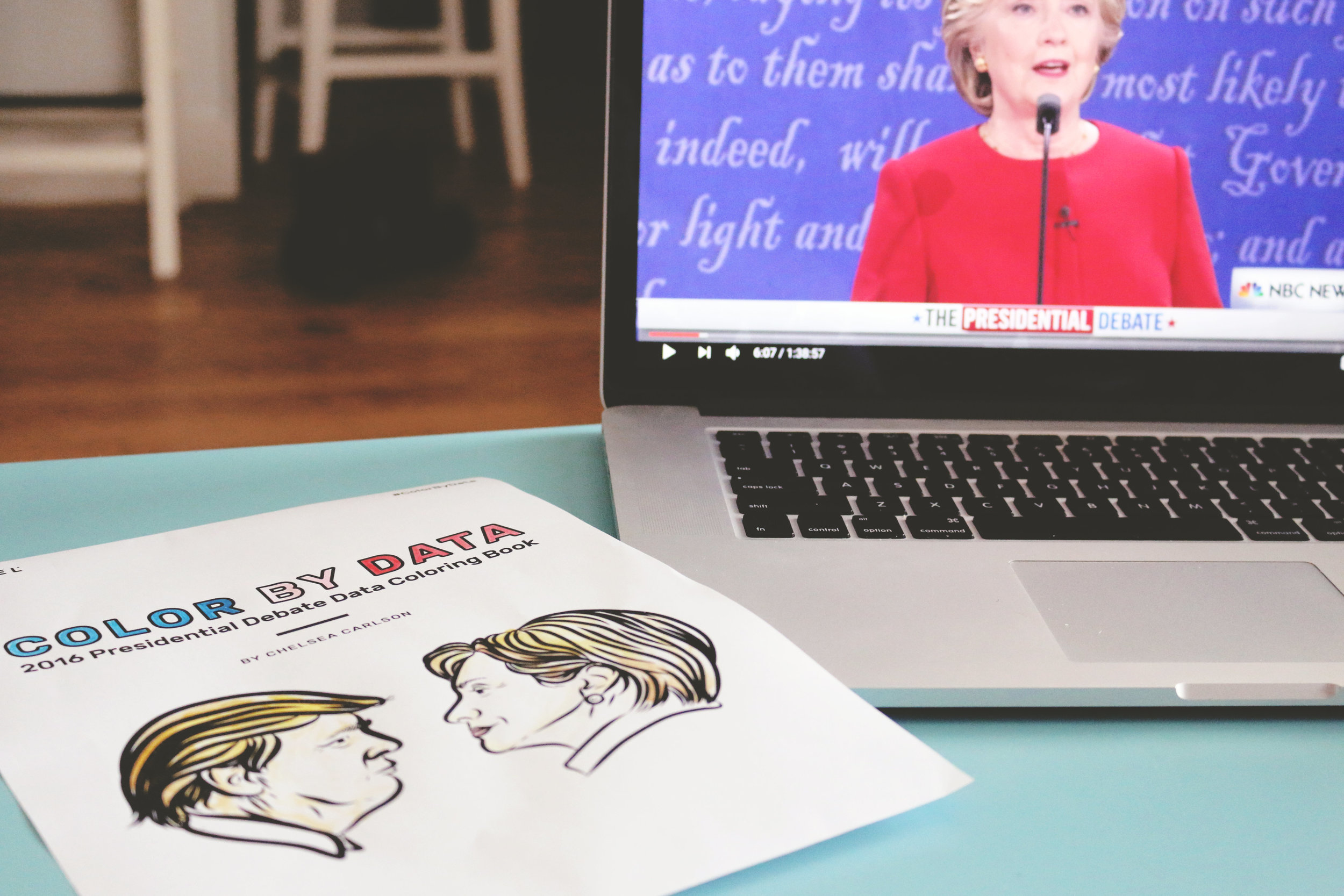 Color By Data  - I designed this (low tech) interactive data coloring book as a companion to the televised presidential debates. Three different types of DIY graphs allowed people of all political inclinations to create a tangible representation of their feelings about the candidates throughout the debate.