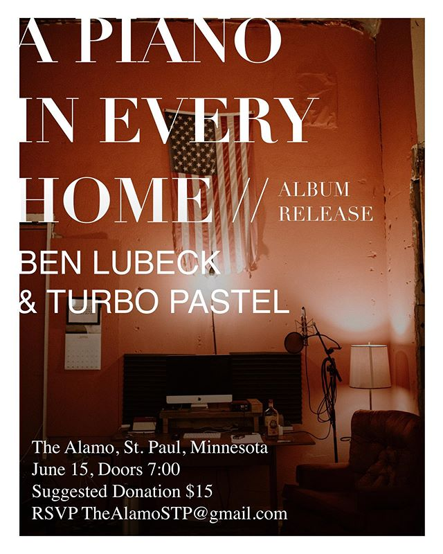 Excited to invite you all to our studio for A Piano In Every Home's album release show with Ben Lubek and Turbo Pastel. It'll be an intimate evening with limited capacity so RSVP at TheAlamoSTP@gmail.com if you're interested.