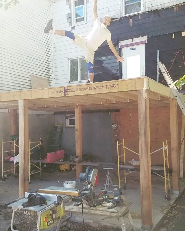 ...is slow but steady. Cement is poured. Posts are up. Joists and subfloor are up. Now hanging the 2nd floor ledger board.  #doublingthesqfootage #sunnysiderenovation #musicalcarpenters