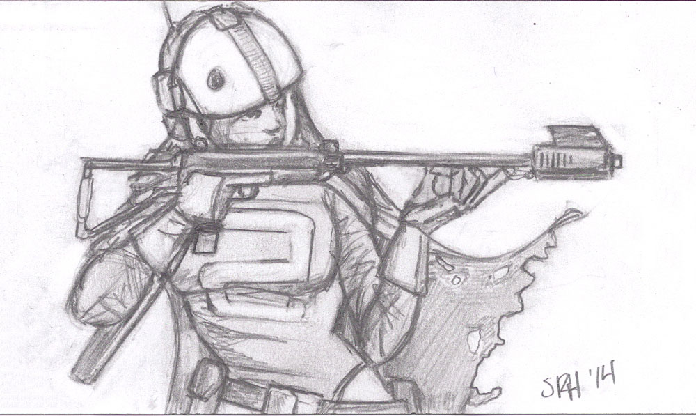 A Spacegirl sketch I did last year.  This is what I would have picked