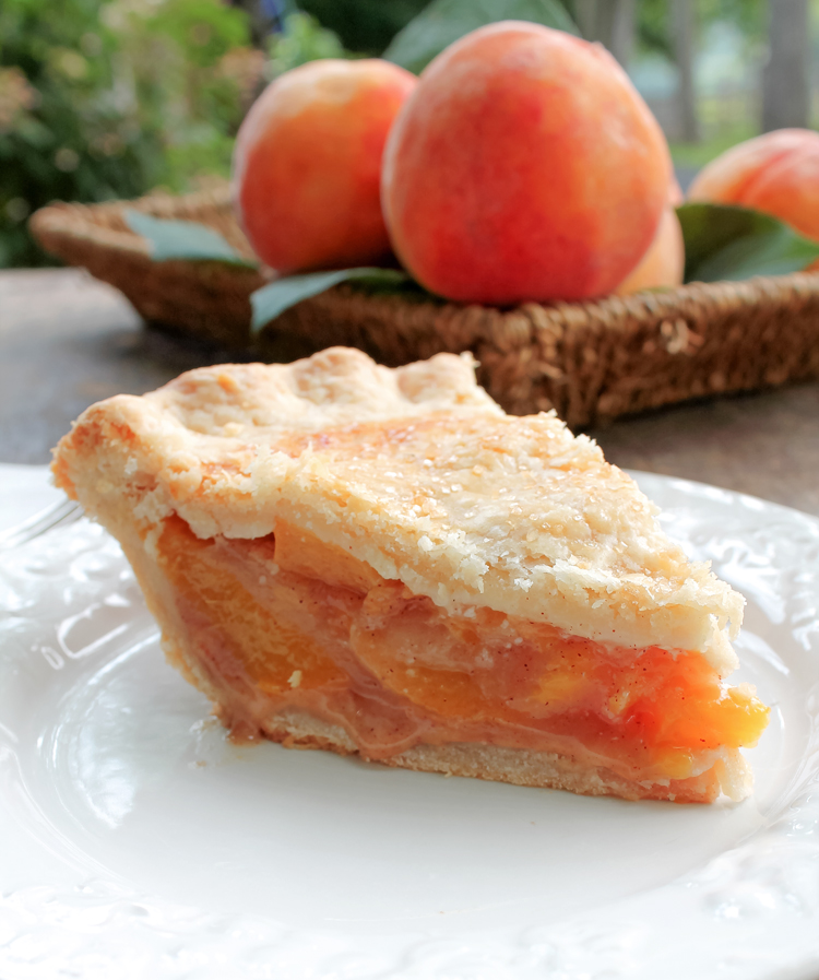 Peach Pie on a pretty white plate
